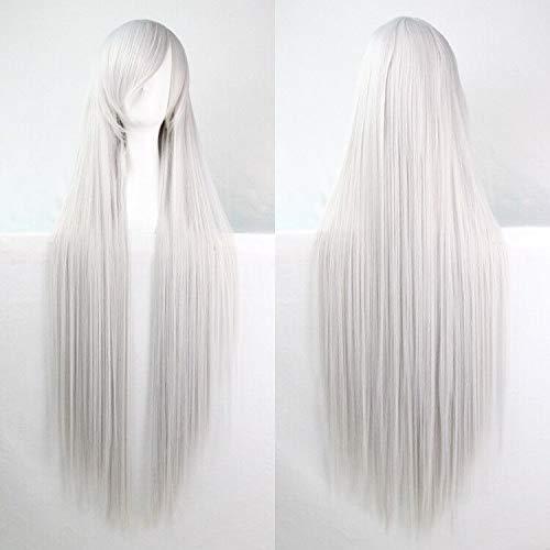 SOUTHSKY Perücke Lang Glatt,Hitzebeständig Kunsthaar für Halloween Kostüme Cosplay 100 cm (Silber Weiß)