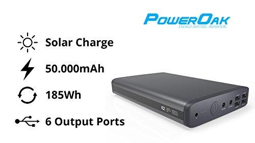 Solar charged portable powerbank / PowerOak K2 notebook & laptop powerbank / 50000mAh / 185WH / 6 Port 5V, 12V, 20V / Premium quality / 2 Years Warranty / External battery laptop / Most of Sony, HP, IBM, Samsung, Acer, Asus, Medion, Lenovo, Dell
