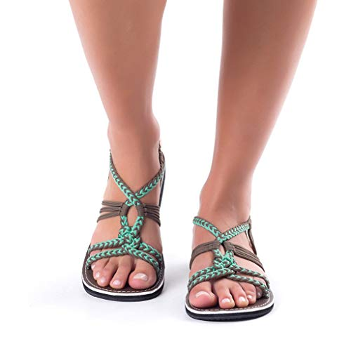Sandalias Mujer Verano ❣JiaMeng Chanclas Sandalias Tejidas Correa Moda Playa Zapatillas (35, Verde C)