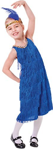 Bristol Novelty CC468 Flapper Kleid, Blau