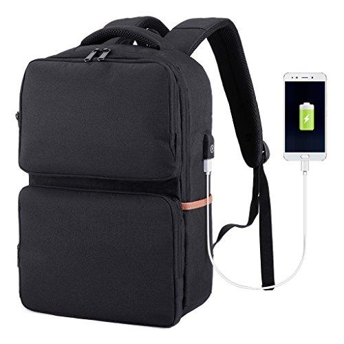SLYPNOS Sac à Dos d'affaires pour Ordinateur Portable, Sac à Dos Anti-vol Etanche pour Ordinateur avec Port de Chargement USB et Serrure pour Hommes et Femmes(Noir)
