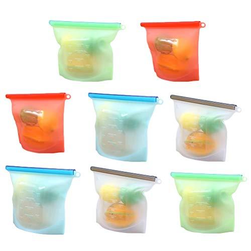 BESTonZON 4 Stücke 1000 ML Silikon Folie Wiederverwendbare Aufbewahrungsbeutel Frische Tasche Vakuum Versiegelt Tasche für Lagerung und Gefrierschrank Lebensmittel (grün/Blau/Rot/Weiß) - Vakuum Versiegelt Lagerung