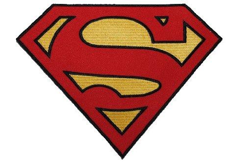 alles-meine.de GmbH XXL- Superman - 20,2 cm * 15,2 cm - Aufnäher Applikation / Bügelbild Superheld Comic - Logo - für Kinder & Erwachsene