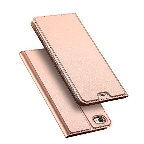 DUX DUCIS Xiaomi Redmi Note 5A Hülle,Flip Folio Handyhülle [Standfunktion] [1 Kartenfach] [Magnet] [Anti-Rutsch] Ultra Dünn Ledertasche Schutzhülle Case Cover für Xperia XZ2 Premium (Rose Golden)
