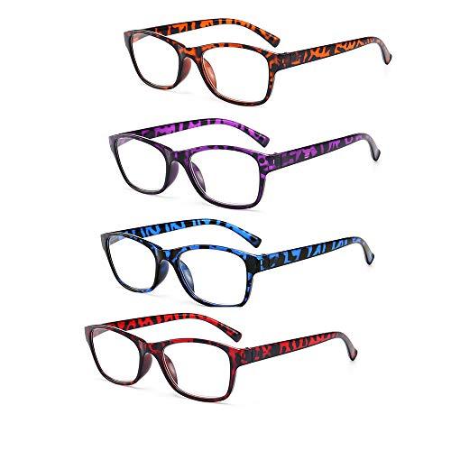 Lesebrille 4 Paare Rechteckige Lesebrille Stilvolles Muster Brillengestell Leser Anti-Reflective Lightweight Stilvoll Presbyopie Verwenden Sie Anti-Ermüdung,3.5