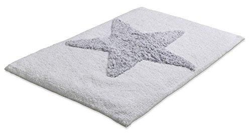 Home4You Badematte Badteppich Badezimmerteppich Stern | 50 x 80 cm | Weiß-Grau | Baumwolle