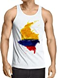 CottonCloud Flagge Kolumbien Herren Tank Top Fußball Sport Colombia WM EM Fahne, Größe:S, Farbe:Weiß