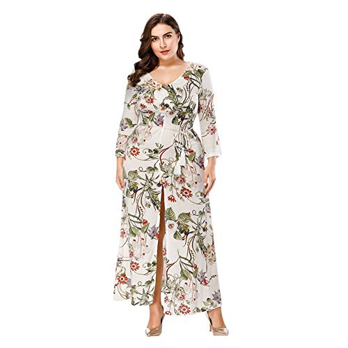 Zhuhaixmy Damen Boho Lang Sommer Kleider Plus Size - V-Kragen Lose Lässiger Sommerdruck 3/4 Ärmel Maxi Kleider XL-6XL