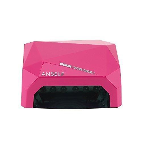 Anself portable 36W LED CCFL Nail séchoir forme de diamant meilleure lampe de polymérisation Machine pour Gel UV Vernis à ongles (rose)