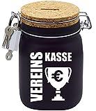 Spardose Vereins-Kasse mit Korkdeckel in Schwarz L
