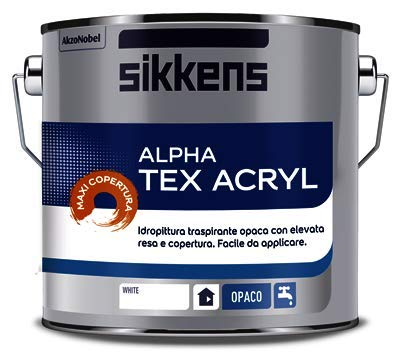 SIKKENS ALPHA TEX ACRYL NEW BIANCO 2,5 LITRI NUOVA FORMULA MAXI COPERTURA