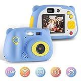 Yissvic Macchina Fotografica per Bambini Macchina Fotografica Portatile Viaggio Fotocamera Bambini, HD 1080P / 12MP / LCD da 2 Pollici/con Scheda SD da 16 GB,Regalo ragazza ragazzo (Blu)