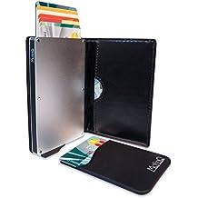 MolinQ Cartera para Tarjetas de Crédito | Carcasa de Aluminio con Cuero de PU | Bloqueo RFID | Incluye 1 mini Cartera Gratis