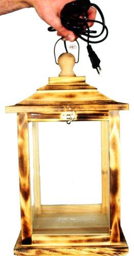 Holzlaterne, als Glasvitrine mit Beleuchtung, mit Glas und Holz - Rahmen, KL-OFOS-GEFLAMMT aus Holz geflammt gebrannt amazon schwarz - natur Glasvitrine, Vitrine
