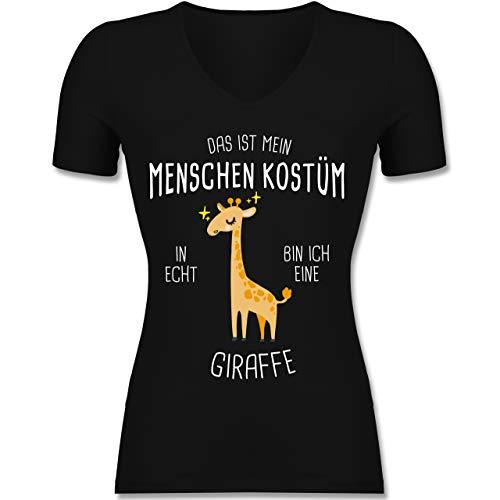 Karneval & Fasching - Das ist Mein Menschenkostüm in echt Bin ich eine Giraffe - XXL - Schwarz - XO1525 - Damen T-Shirt mit V-Ausschnitt