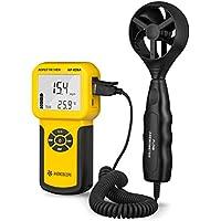 Anemómetro Digital de Mano con Pantalla LCD con Luz de Fondo para Velocidad del Aire, Flujo de Aire, Temperatura, Medición Máxima / Promedio / Actual y en Tiempo Real con una Paleta Extensible