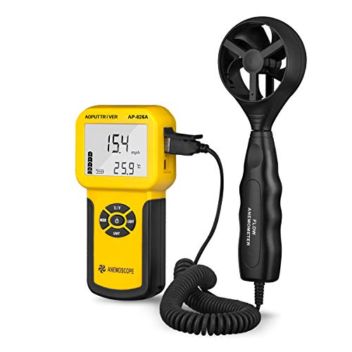Anemómetro Digital de Mano con Pantalla LCD con Luz de Fondo para Velocidad del Aire, Flujo de Aire...