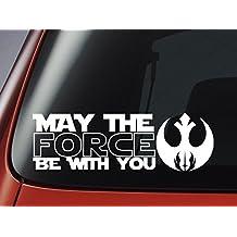"""Adhesivo para coche, ventana, pared o portátil (vinilo), diseño de La Guerra de las Galaxias con texto en inglés """"May The Force Be With You"""" y logotipo Jedi"""