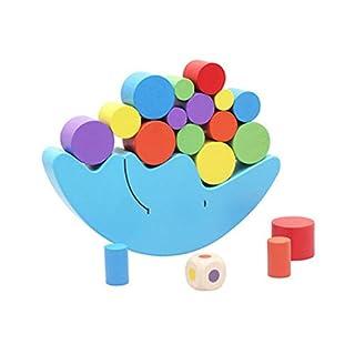 NaiCasy Holz Baby Spielzeug Bausteine Mond Bunte Balance Übung Spiel Holz Cartoon Mond Balance Spielzeug Balancing Spiel Set Stacking Zylinderblöcke Lernspielzeug für Kinder Stapeln Blöcke 1 Satz