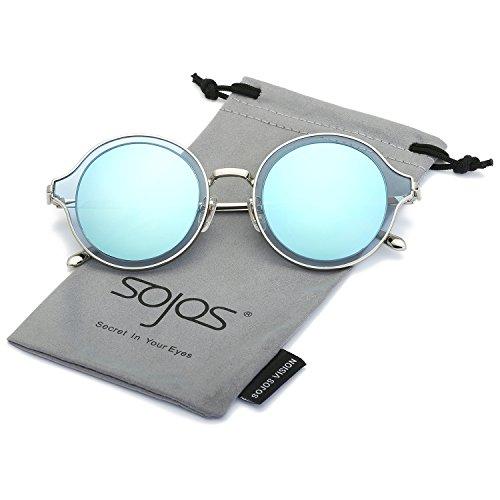 SOJOS Polarisierte Runde Sonnenbrille Schick Metallrahmen Sonnenbrillen Damen Herren SJ1058 mit Silber Rahmen/Blau Linse