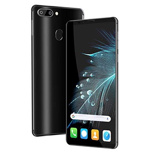 4G Telephone Portable debloqué, 6.0 Pouces 4Go + 64Go Android 8.3 Smartphone Pas Cher Dual 13MP + 5MP Caméras,4000mAh Double SIM Face ID Téléphone Portable Pas Cher sans Forfait (Noir)