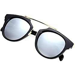 AULEI Retro Runden Spiegel übergroße Sonnenbrille Schatten UV400 Unisex Brille