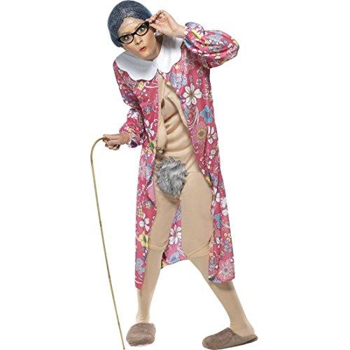 u Mehrfarbig M 40/42 Großmutter Kostüm Oma Verkleidung Nacktkostüm Exhibitionistin (Alte Frau Kostüm)