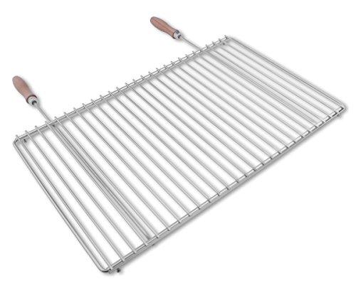 Edelstahl Grillrost mit verstellbarer Breite 60-70X37cm aus Europäischem Edelstahl mit Holzgriffen, Verstellbarer Grillrost, Grillrost Ausziehbar -