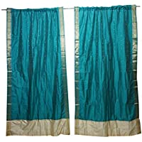 Mogul Interior 2 Indian Sari Curtains Drape Silk Sari Blue Window Treatments Home Decor 84x44