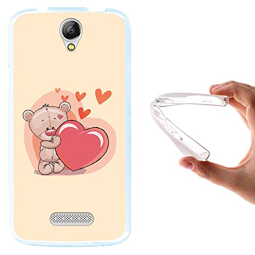 WoowCase Doogee X6 - X6 Pro Hülle, Handyhülle Silikon für [ Doogee X6 - X6 Pro ] Liebevoller Teddybär Handytasche Handy Cover Case Schutzhülle Flexible TPU - Transparent