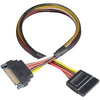 Akasa Sata Power - Cable (0,3 m, Macho/Hembra, Negro)