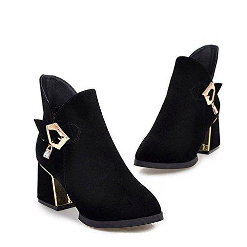 ALUK- Autunno e inverno - Scarpe da sposa cinesi scarpe da sposa ruvide con stivali da donna scarpe da sposa ( Colore : Nero , dimensioni : 38-foot length 240cm ) Nero