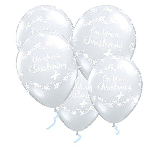 e 5Stück Luftballons Latex bedruckt Christening mit Schmetterlinge ()