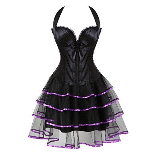 Women's Fashion Lace Strap Up Boned Corset Bustier Bridal Lingerie mini tutu Skirt Schwarz-Lila