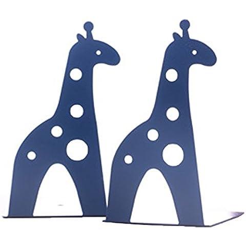 Super44day Giraffa Animali Reggilibri Fermalibri Metallo Titolare Libro Mensola Biblioteca fermalibri per mensole Casa UffIcio Scuola Bookends Shelf Holder,2 Pezzi (Blu)