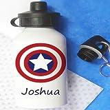 tigerlilyprints Marvel Trinkflasche für Kinder, Personalisierbar, Super Hero Flasche, Schule Lunch Tasche Flaschen
