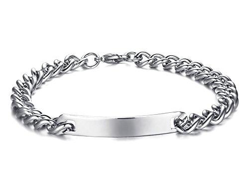 Huanian incisione personalizzata a tinta unita in acciaio inox id bracciale per unisex, targhetta identità braccialetto e acciaio inossidabile, cod. s-cb-027m