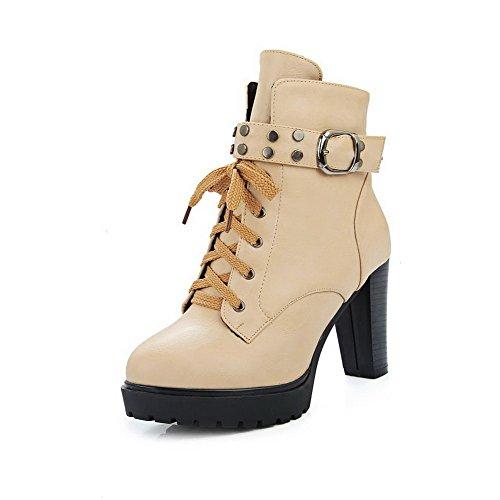 AgooLar Damen Reißverschluss Hoher Absatz PU Niedrig Spitze Stiefel, Aprikosen Farbe, 38