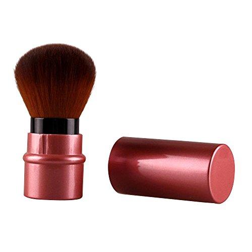 Contever® Einziehbarer Synthetik-Haar Pinsel für Make-Up Puder Blush Foundation Kosmetik Kabuki Bürste mit Deckel -- Rot