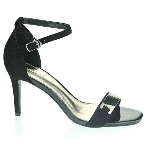 Femmes Dames Soir Mariage Fête Bal de promo Carré Open Toe Milieu Talon haut Des sandales Chaussures Taille Noir