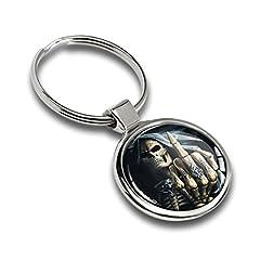 Idea Regalo - Portachiavi Metallo Teschio Cranio Dito Medio Skull Middle Finger Chiave Anello Portachiavi Regalo Auto Moto Hobby Keychain Keyring KK 161