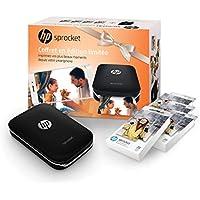HP Sprocket Pack Black Friday - Imprimante Photo Portable (Bluetooth, Impression Couleur sans Encre 5 x 7,6 cm) Noir + 4 packs de papier photos HP Zinc