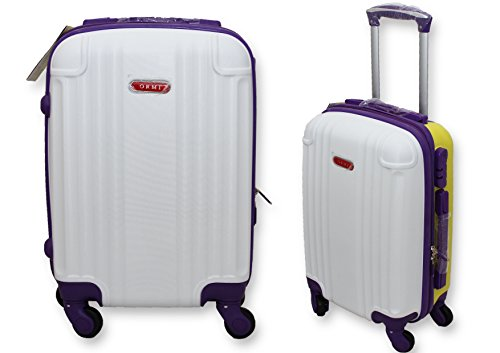 trolley-valigia-bagaglio-a-mano-cabina-ryanair-easy-jet-4-ruote-abs-low-cost-bianco-viola-giallo