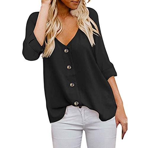 BCFUDA Blusen Frauen Mode 3/4 Ärmel V-Ausschnitt Button Down Shirts Sommer Casual Lose Atmungsaktiv Strandhemd Mode Bequem Leichtgewicht T-Shirt