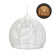Relaxdays Rattan Lamp for Kitchen, Living Room & Dining Area, E27 Socket, 40W, Pendant Light, HxD: 120x28 cm, White, Metal, Plastic