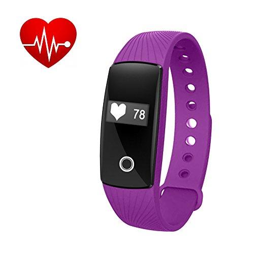Padgene Smart-Uhr, Fitness-Armband mit Herzfrequenzüberwachung, Schrittzähler, Schlafüberwachung, Bluetooth, kompatibel mit iOS, Android, Smart Phones, lila