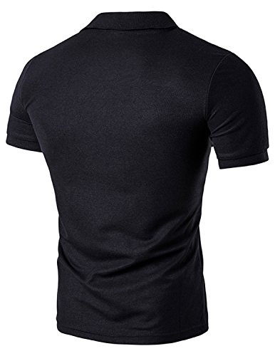 YCHENG Herren Poloshirt Polohemd Polo T-Shirt Kurzarm Slim Schwarz