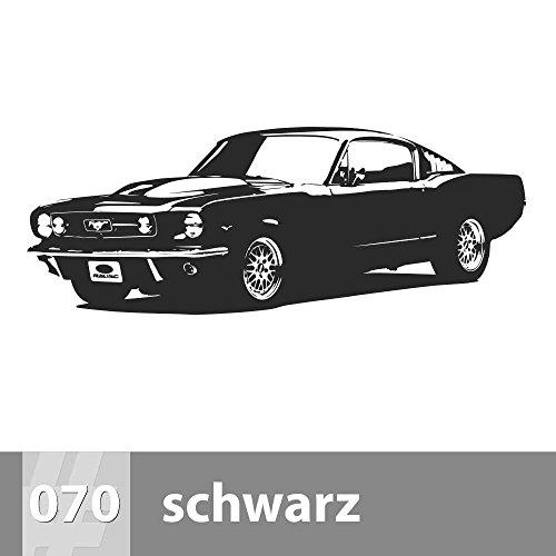Premiumsticker24 Wandtattoo Ford Mustang | Schlafzimmer Wohnzimmer Kinderzimmer Aufkleber selbstklebend Wand, 151cm x 57cm, 070 schwarz