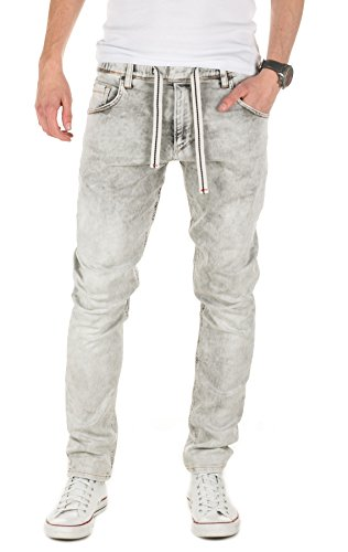 Yazubi Herren Sweathose in Jeansoptik Steve - Jogginghose in Jeans-Look, grey (11745), W32/L34