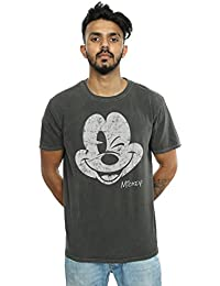 80c20b390 Disney Hombre Mickey Mouse Distressed Face Camiseta Lavada